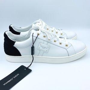 NIB DOLCE & GABBANA Men's White Portofino Sneakers